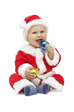 Baby boy as Santa Claus Isolated on white background photo