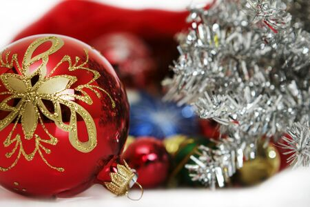 Red fir-tree sphere against New Year Stock Photo - 15691145