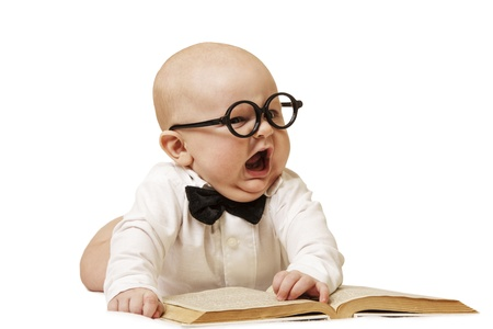 The shouting child to a wearing spectacles, white shirt and a butterfly