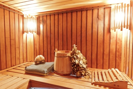 bathhouse: Sauna ready accessories - broom, tub, poltenets and scoop Stock Photo