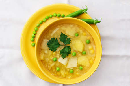 green pea: Beautiful and useful lenten soup from vegetables it is isolated