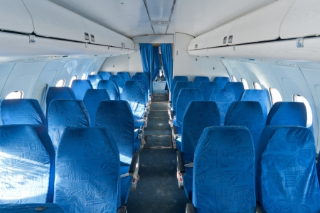 Passenger seats interior of salon of the TU 154 plane