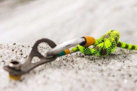 carabiner: Climbing equipment on an ice site of way Stock Photo