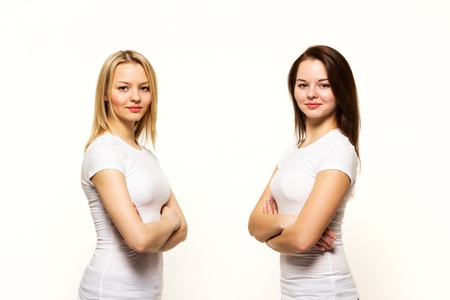 Two strict woman of the sister twins