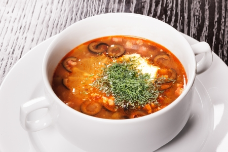 soljanka: Tasty soup in style of the Russian traditional culture