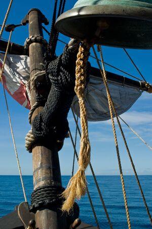 Sailing along Madeira coast on a replica of old sailing vessel. Stock Photo