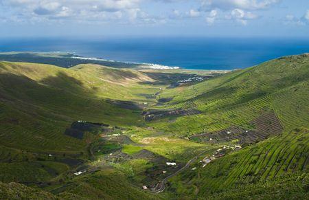 Green valley near Haria on Lanzarote Island, Spain.