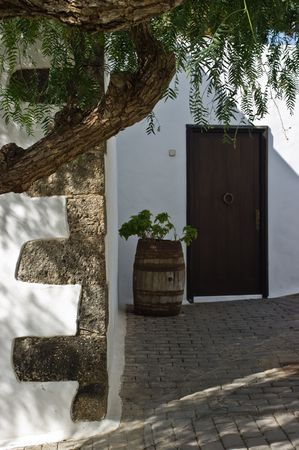 culdesac: A court in Teguise on Lanzarote Island, Spain. Stock Photo