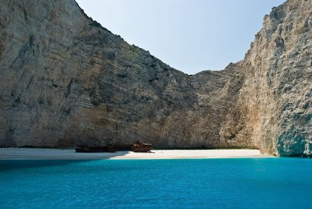 Navagio Beach, or the Shipwreck Bay,  an isolated sandy cove on Zakynthos Island - one of the most famous beaches in Greece.