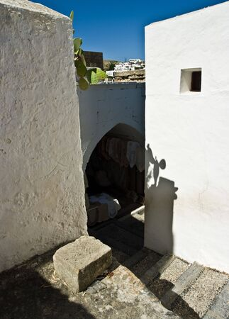 passages: Steep passages of Lindos on Rhodes Island, Greece.