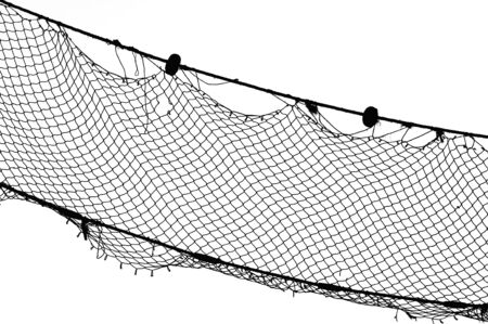 Old fishing Net, black on white, Limenaria on Thasos Island, Greece. Reklamní fotografie - 7706538