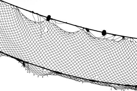 redes de pesca: Pesca viejo NET, negro sobre blanco, Limenaria en la isla de Tasos, Grecia.