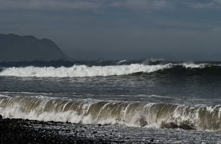 North coast of Madeira, stormy waves on Atlantic Ocean. photo