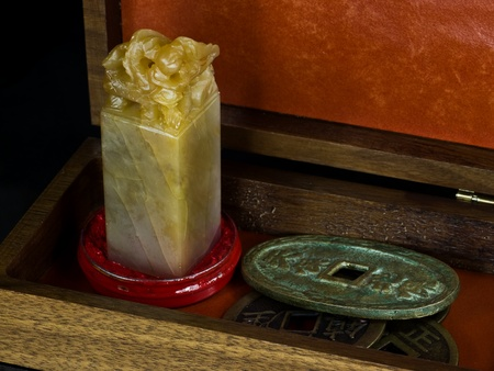 curio: Curio box with Chinese alabaster stamp and ancient coins.