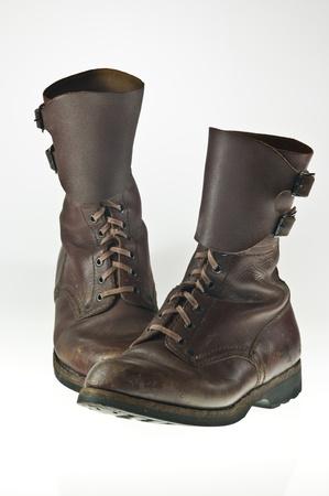 twentieth: Pair of worn Polish army boots used in seventies of the twentieth century