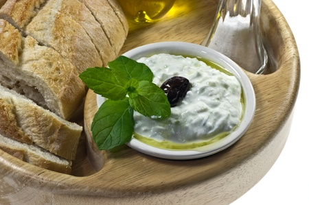 Traditional Greek dip tzatziki Stock Photo