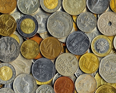 Various old coins on a flat surface Stock Photo - 9186174