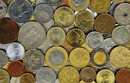 Various old coins on a flat surface Stock Photo - 9186190