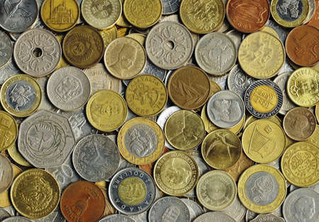 Various old coins on a flat surface Stock Photo - 9186208