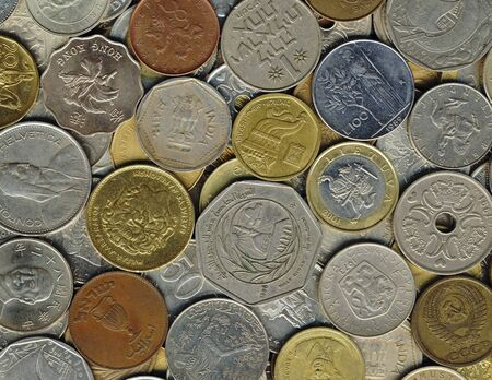 Various old coins on a flat surface Stock Photo - 9186209