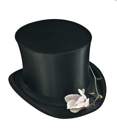Black top hat and pink magnolia flower isolated Stock Photo