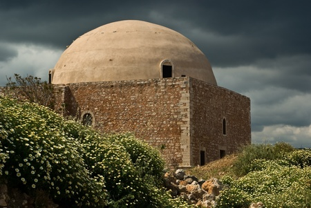The Ibrahim Han Mosque in Rethymno placed in the middle of the Venetian Fortezza - Crete, Greece. Stock Photo