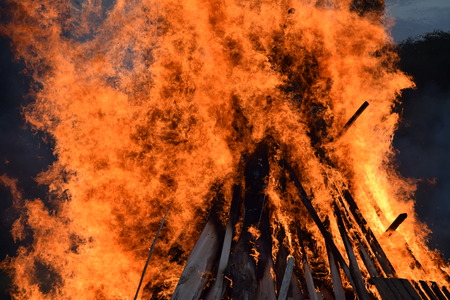 burning pile with wood for solstice celebration
