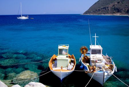 Small fishing boats on the Greek island of Corfu photo