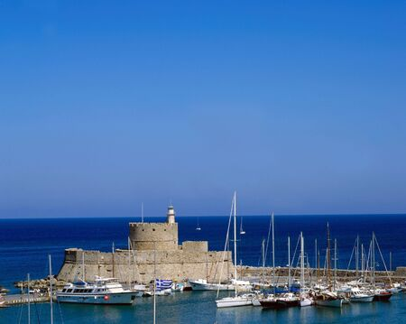 rhodes: The harbour of Rhodes Greece old town