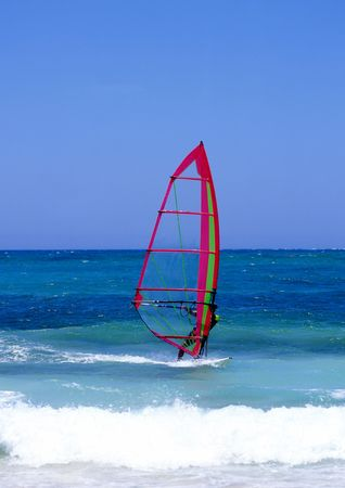 lanzarote: Windsurfer on Lanzarote, Canary Islands Stock Photo
