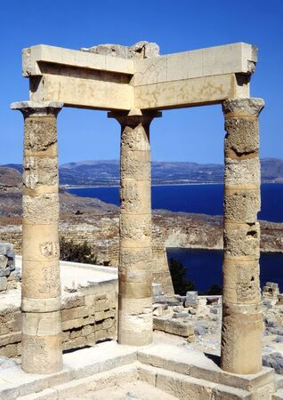 The Acropolis in Lindos greece looking out over the bay Stock Photo - 2951050