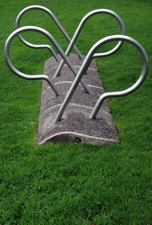 Metal curved bicycle park photo