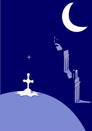 Illustration of a Greek church by moonlight Vector