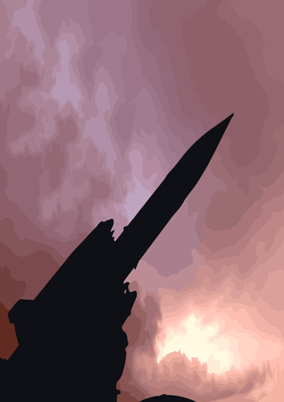 warhead: Illustration of a surface to air missile against a stormy sky Illustration