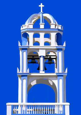 church bell: Illustration of a Greek church bell tower with a blue sky background
