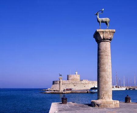 rhodes: The entrance to Rhodes old port, Greece