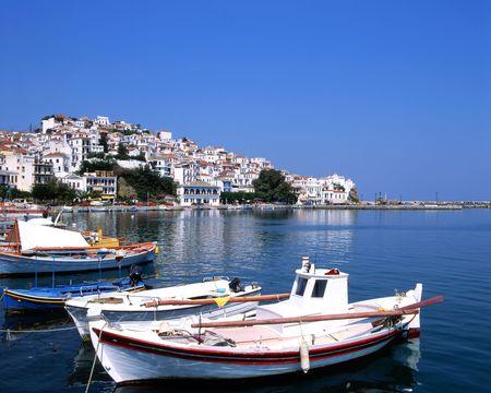 hillsides: Fishing boats in the port os Skopelos a Greek island