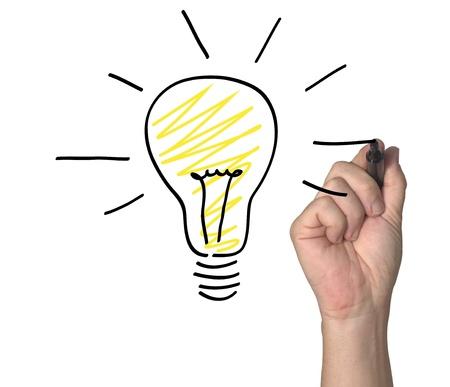 Zeichnen einer Glühbirne auf einem virtuellen Whiteboard. Standard-Bild - 10317639