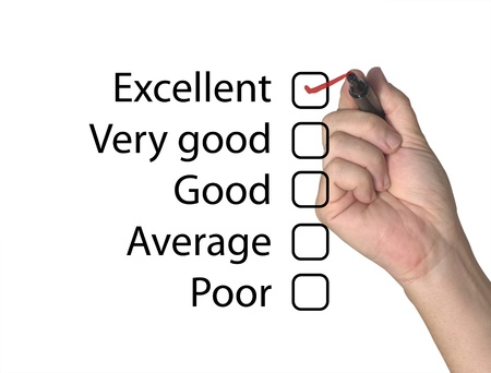 Feedback form with excellent score Stock Photo - 10558103