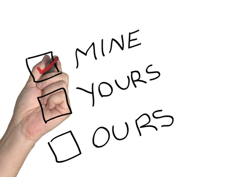 Mine, yours and ours checkboxes Stock Photo - 10558106