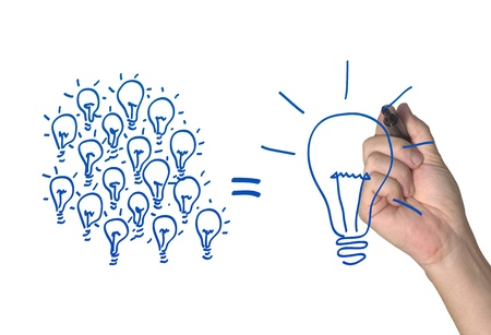 light bulb idea: Many small ideas make a big one Stock Photo