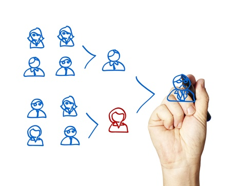 Business man illustrating a team leaders key role. Stock Photo - 10873656