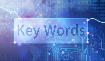 Keywords on blue background.