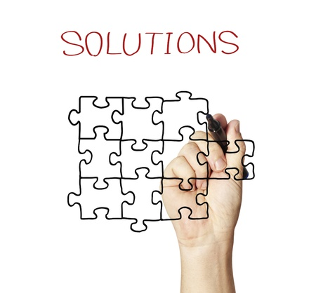 jigsaw puzzle: teamwork brings solutions Concept
