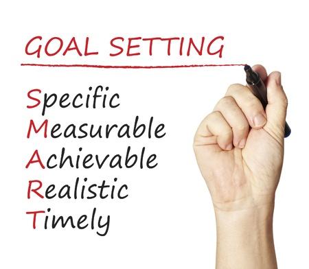 Hand writing smart goal Stockfoto