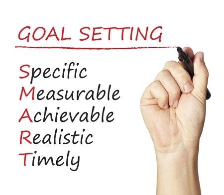 business goal: Hand writing smart goal Stock Photo