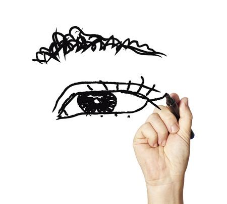 ojo de horus: dibujado a mano ojos femeninos sobre papel cuadriculado