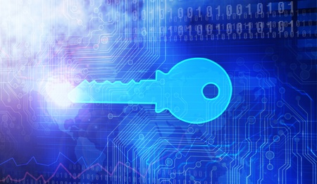 key on a Blue background Stock Photo - 12938548