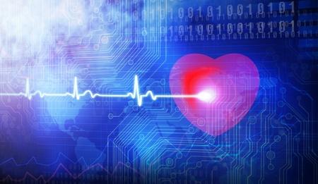 electrocardiograma: Los amantes electrocardiograma del corazón Foto de archivo