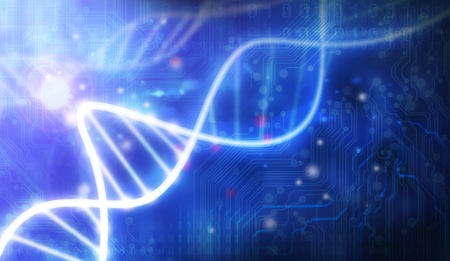 glass DNA molecule over blue abstract background  Stock Photo